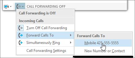 Galvenās izvēlnes zvanu pāradresēšanas nolaižamā izvēlne