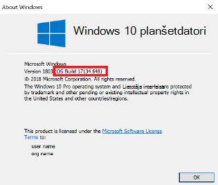 Windows 10 versijas dialoga attēls