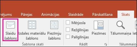 PowerPoint lentē tiek rādīta poga Slaidu šablons