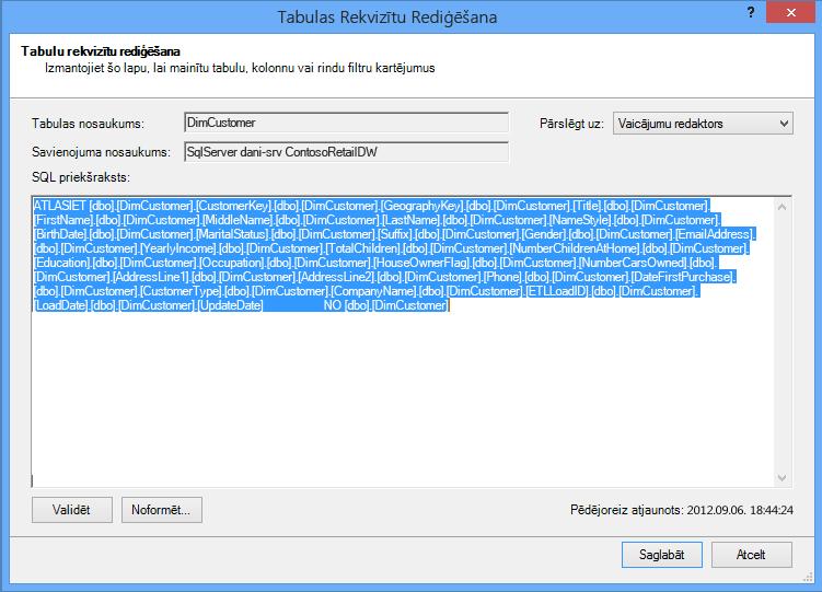 Datu izgūšanai izmantotais SQL vaicājums