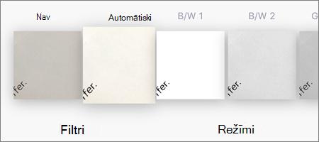 Filtra opcijas attēlu skenēšanai pakalpojumā OneDrive darbam ar iOS
