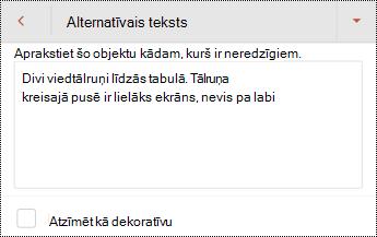 Alternatīvā teksta dialoglodziņš attēlam programmā PowerPoint darbam ar Android.