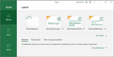 Excel darbgrāmatas izveide