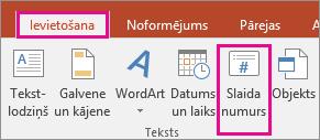 PowerPoint lentē tiek rādīta poga Slaida numurs