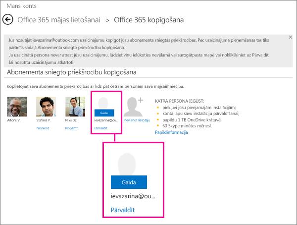 Office365 lapas koplietošanas attēls, kurā ir redzams gaidīšanā esošs atlasīts kopīgota abonementa lietotājs.