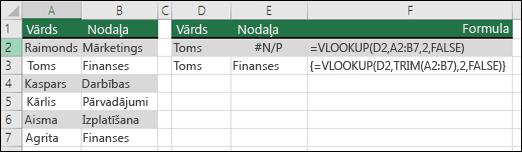 VLOOKUP izmantošana kopā ar TRIM masīva formulā, lai noņemtu sākuma/beigu atstarpes.  Formula šūnā E3 ir {=VLOOKUP(D2;TRIM(A2:B7);2;FALSE)}, un tā ir jāievada, izmantojot taustiņu kombināciju CTRL+SHIFT+ENTER.