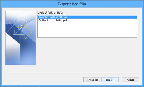 outlook eksportēšanas vednis— csv faila izvēlēšanās