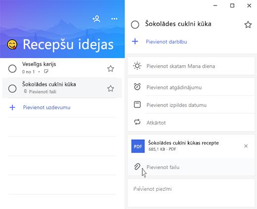 Microsoft uzdevumu ekrānuzņēmums ar atvērtu detalizētās informācijas skats un opcija Pievienot failu iezīmētu