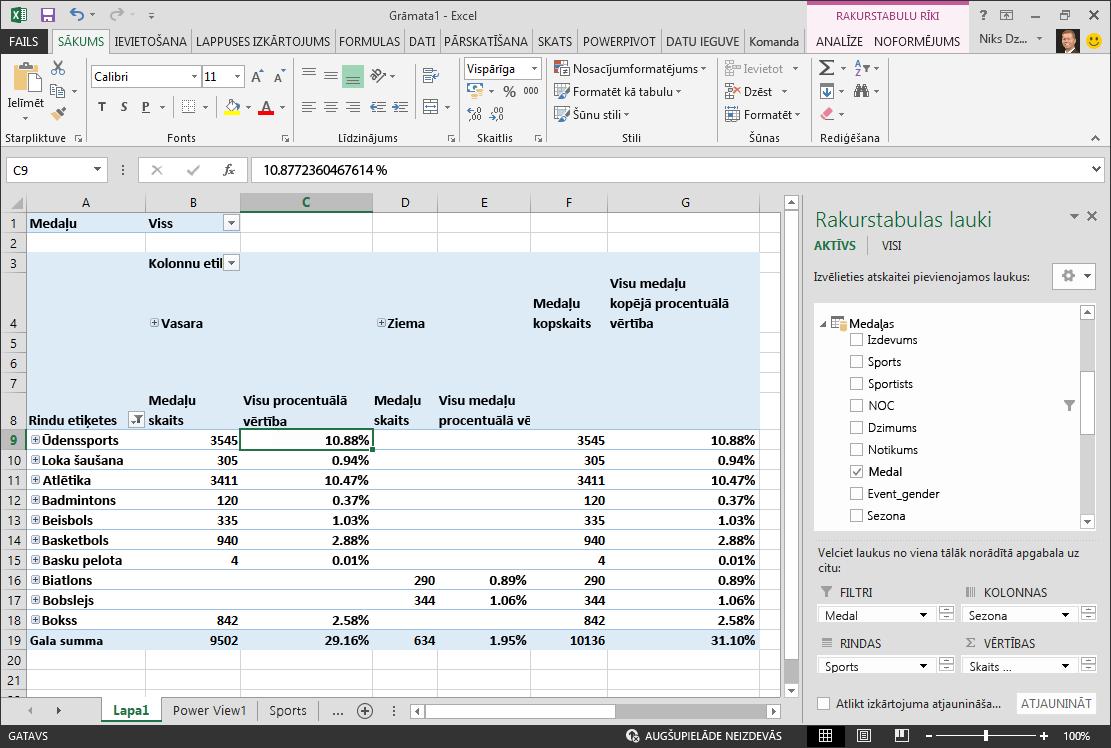 Rakurstabula, kurā parādīti dati procentos