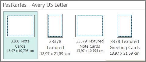 Pastkartes veidne, kas paredzēta AveryUSLetter kartītes papīram.