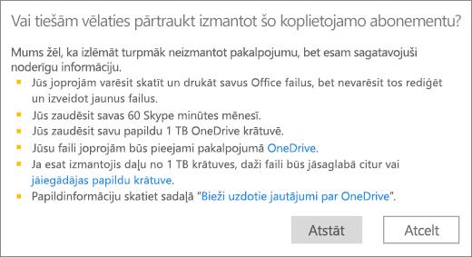 Ekrānuzņēmums ar apstiprinājuma dialoglodziņu, kas tiek parādīts, kad pārtraucat izmantot Office365 mājas lietošanai abonementu, ko ar jums koplietojis cits lietotājs.