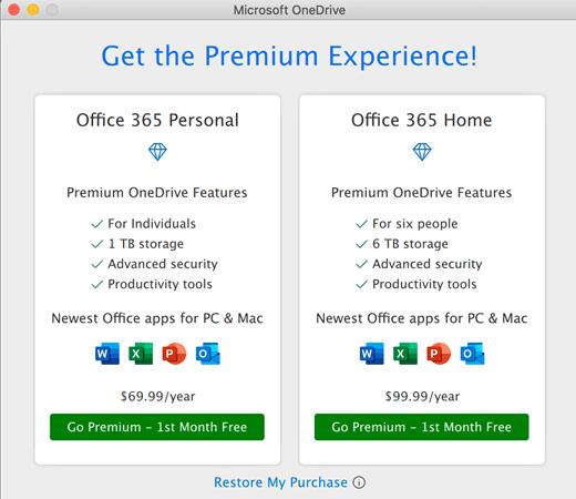 OneDrive ekrānuzņēmums, kurā parādīts dialoglodziņš Premium pieredze