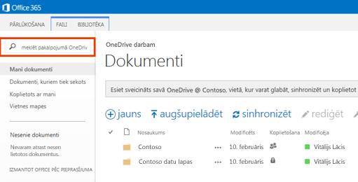 Ekrānuzņēmums ar One Drive vaicājuma lodziņu pakalpojumā Office 365.