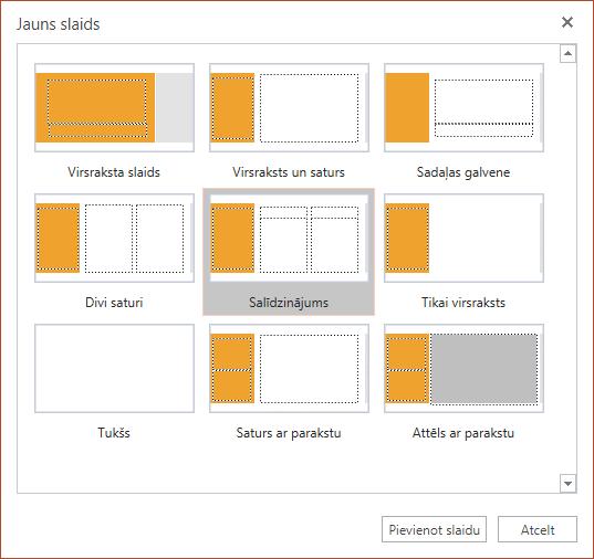 Dialoglodziņā Jauns slaids programmā PowerPoint Online izvēlei ir pieejami vairāki slaidu izkārtojumi