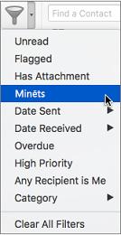 Lai meklētu e-pasta ziņojumus, kuros jūs esat @pieminēts, izvēlnē Filtrēt e-pastu izmantojiet iespēju Pieminēts
