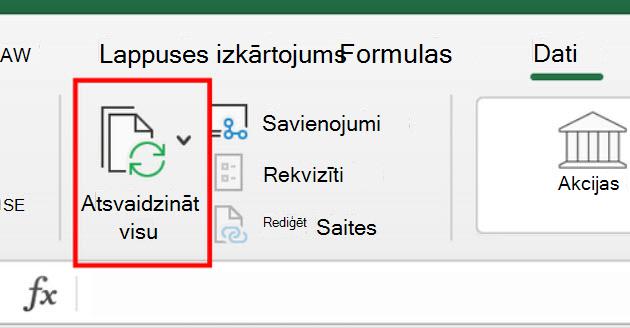 Resfresh All lentes komanda programmā Excel darbam ar Mac