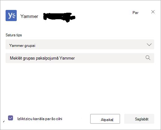 Ekrāns, kurā var atlasīt Yammer grupu, lai to rādītu pakalpojumā Teams