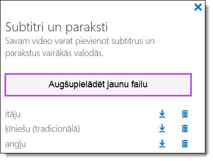 Office 365 video subtitru saraksts