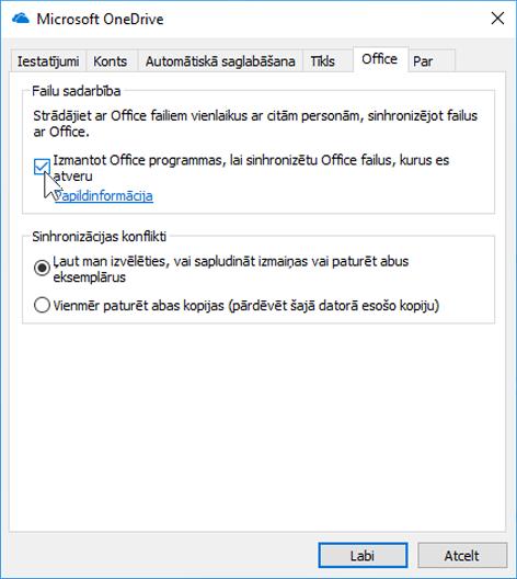 Ekrānuzņēmums ar cilni Office OneDrive sinhronizācijas klienta iestatījumos