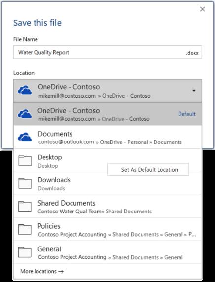 Ekrānuzņēmums, kurā parādīts, kā programmā Word iestatīt noklusējuma atrašanās vietu, saglabājot jaunu failu