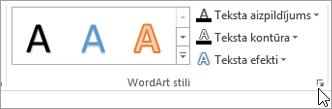 Atlasot dialoglodziņa ikonas WordArt stili