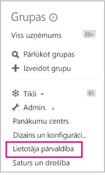 Yammer Admin menu ar lietotāju pārvaldību higlighted