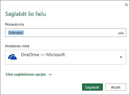 Pakalpojuma Office365 programmas Microsoft Excel dialogs Saglabāšana
