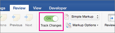 Turn on Track Changes is highlighted
