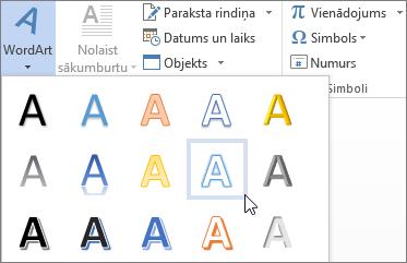 WordArt opcijas izvēle