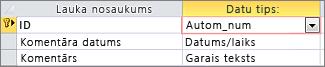 AutoNumber primārā atslēga, kas apzīmēta kā ID Access tabulas noformējuma skatā