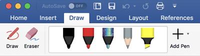 Pildspalvas un marķieri cilnē Zīmēšana sistēmā Office 365 darbam ar Mac