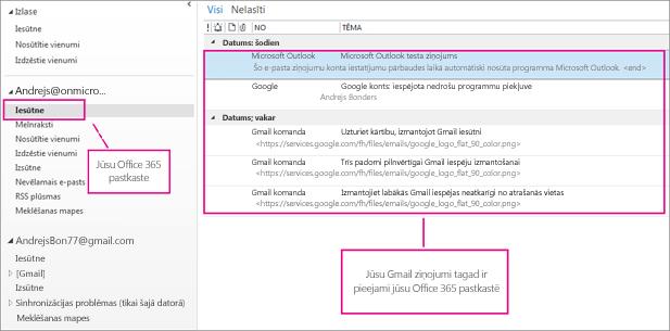 Pēc e-pasta importēšanas Office 365 pastkastē, tas būs redzams divās vietās.