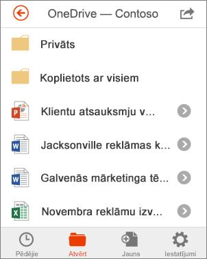 OneDrive faili programmā Office Mobile
