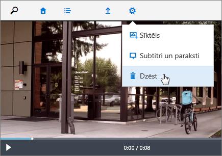 Ekrānuzņēmums ar video lapu, kurā ir aktīva komanda Dzēst.