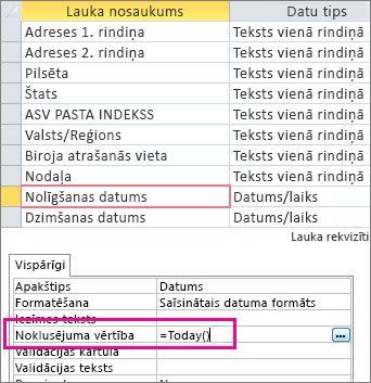 Lauka Datums/laiks noklusējuma vērtības iestatīšana Access tabulā.