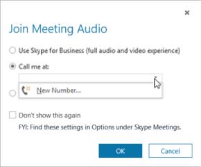 """Opcija """"Zvanīt man uz"""" dialoglodziņā Pievienošanās sapulces audiosaturam"""