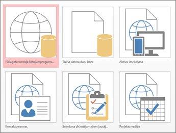 Veidņu skats sākuma ekrānā programmā Access