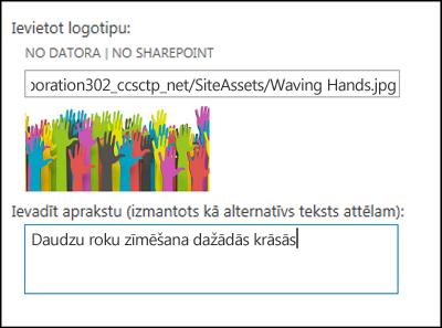 SharePoint Online jaunas vietnes nosaukuma un logotipa dialoglodziņš, kurā parādīts, kā izveidot alternatīvu tekstu logotipa attēlam
