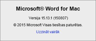 Ekrānuzņēmums, kurā redzama lapa Par Word programmā Word for Mac