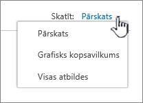 Aptaujas skatu nolaižamo izvēlni ar nospiestu ikonu PivotTable lauku sarakstā