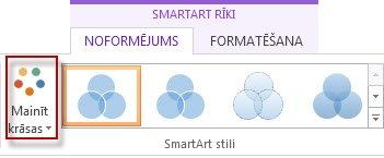 Grupas SmartArt Stili opcija Mainīt krāsas