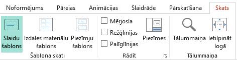 Slaidu izkārtojumus iespējams pielāgot slaidu šablona skatā