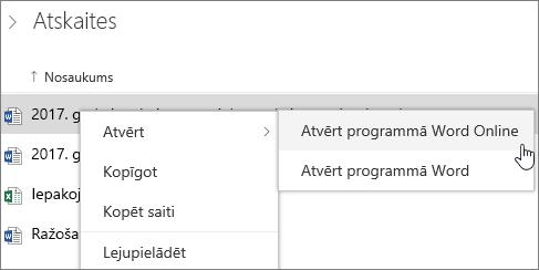 Atvērt failu, programmā Word Web App pakalpojumā OneDrive