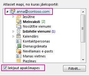 Dialoglodziņš Outlook datu faila eksportēšana, kurā atlasīta augšējā mape un atzīmēta opcija Iekļaut apakšmapes