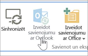 Lente ar iezīmētu atspējotu pogu Izveidot savienojumu ar Outlook