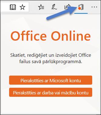 Pierakstīšanās dialogu Office Online paplašinājumam malu