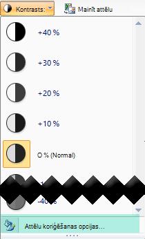 Lai precizētu kontrasta apjomu, atlasiet Attēla korekcijas opcijas