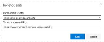 Dialoglodziņš hipersaite programmā Outlook tīmeklī.