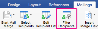 Noklikšķiniet, lai filtrētu pasta sapludināšanas sarakstu