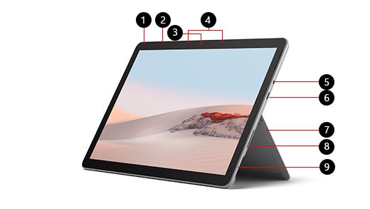 Surface Go 2 ar skaitļiem, kas identificē katru līdzekli.